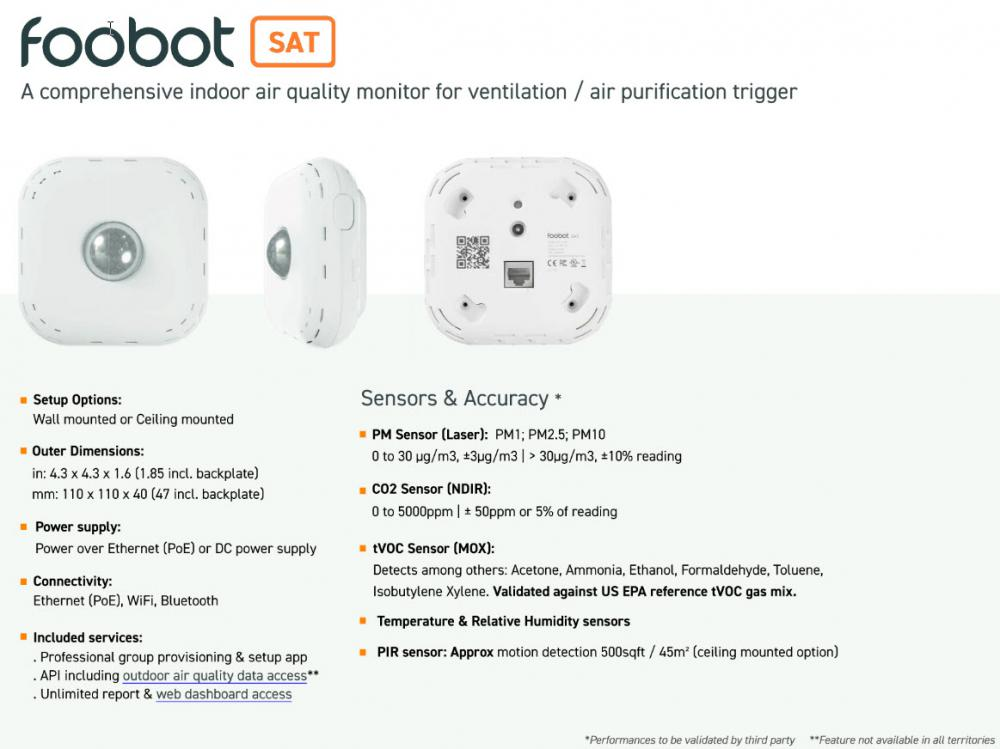 Foobot Indoor Air Quality Meter and Monitor Spec Sheet